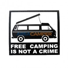 "Adesivo ""Free camping is not a crime"", 12*12 cm"