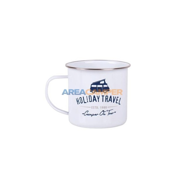 "Enamel mug ""camper on tour"", 500 ml Ø10 cm"