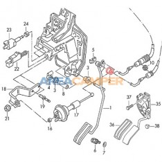 Accelerator cable bush on pedal shaft (1991-2003), manual transmission