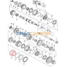 Double tapered roller bearing on 4 speed (not all of them), 5 speed and 4WD Syncro gearboxes