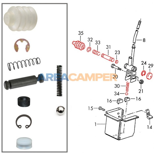 5 speed shifter bottom repair kit VW T3 2WD
